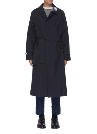 Main View - Click To Enlarge - THOM BROWNE - Four bar stripe collar belted trench coat