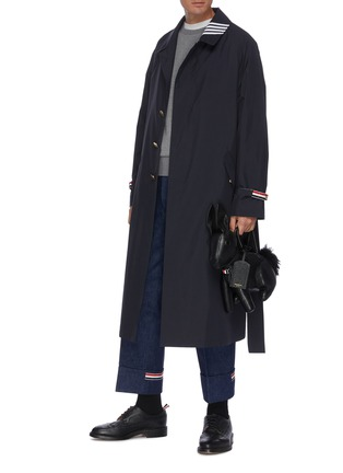 Figure View - Click To Enlarge - THOM BROWNE - Four bar stripe collar belted trench coat