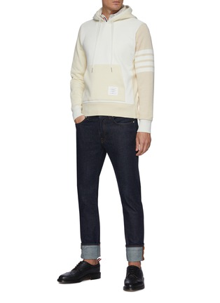 Figure View - Click To Enlarge - THOM BROWNE - Fun mix rib stripe sleeve hoodie