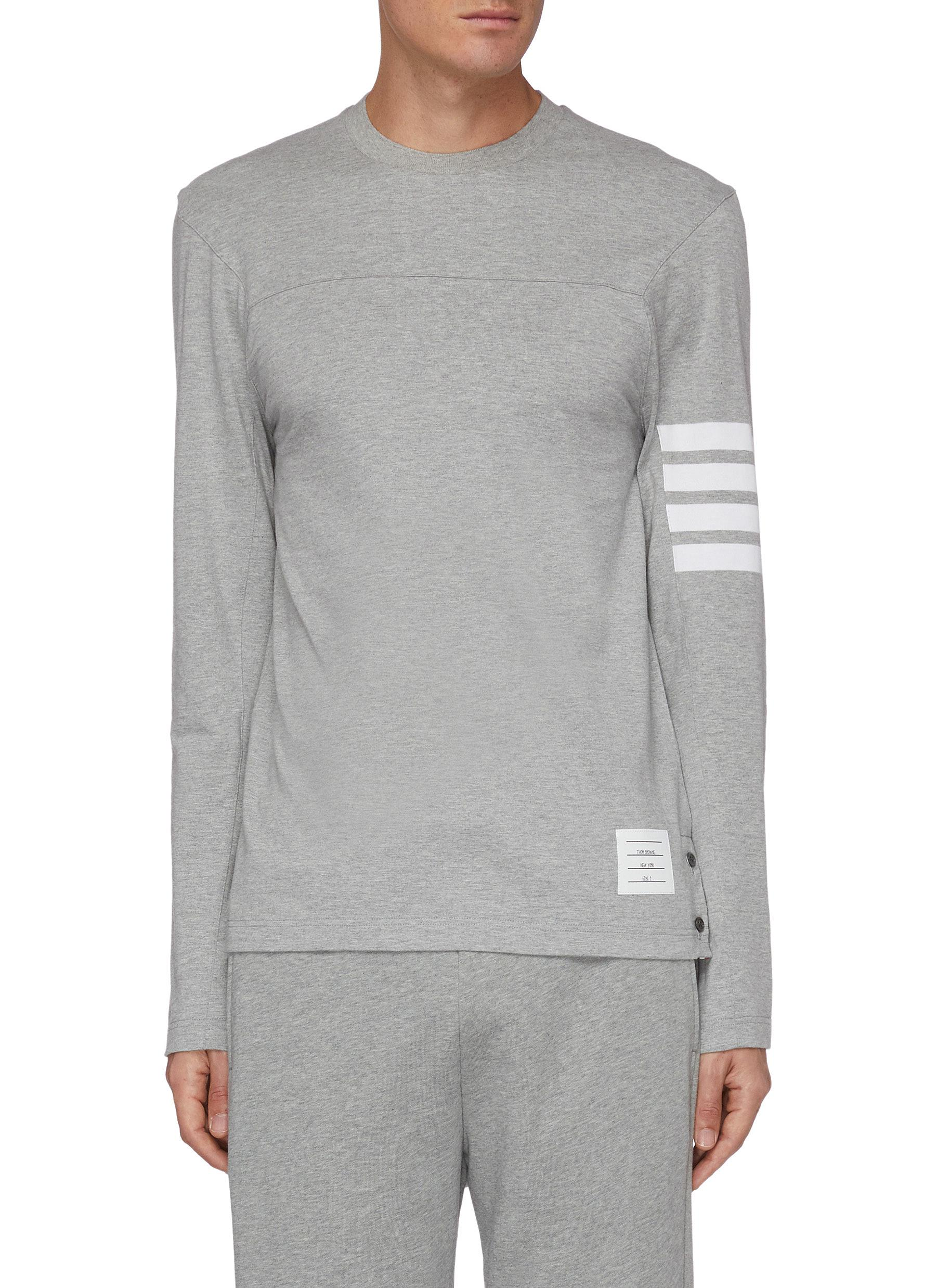 Thom Browne Cottons FOUR BAR STRIPE LONG SLEEVE T-SHIRT