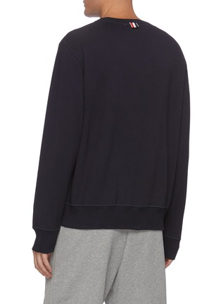 Back View - Click To Enlarge - THOM BROWNE - Embroidered crest patch boat neck sweatshirt