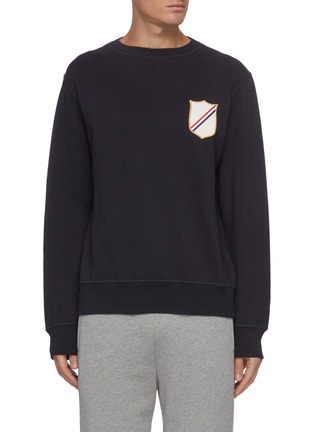 Main View - Click To Enlarge - THOM BROWNE - Embroidered crest patch boat neck sweatshirt