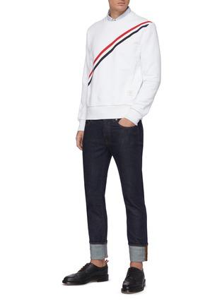 Figure View - Click To Enlarge - THOM BROWNE - Diagonal Grosgrain Stripe Sweatshirt