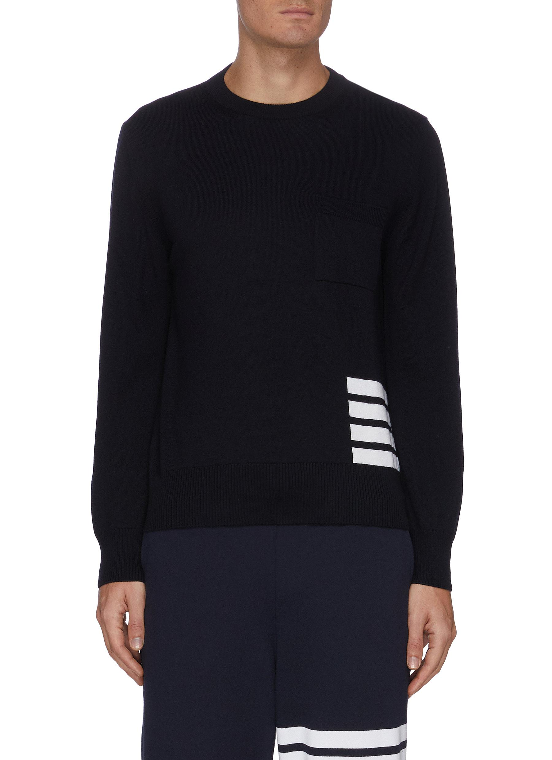 Thom Browne Wools FOUR BAR STRIPE MERINO WOOL SWEATER