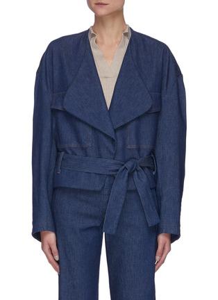 Main View - Click To Enlarge - BARENA - 'Melina Frusta' Belted Denim Wrap Jacket