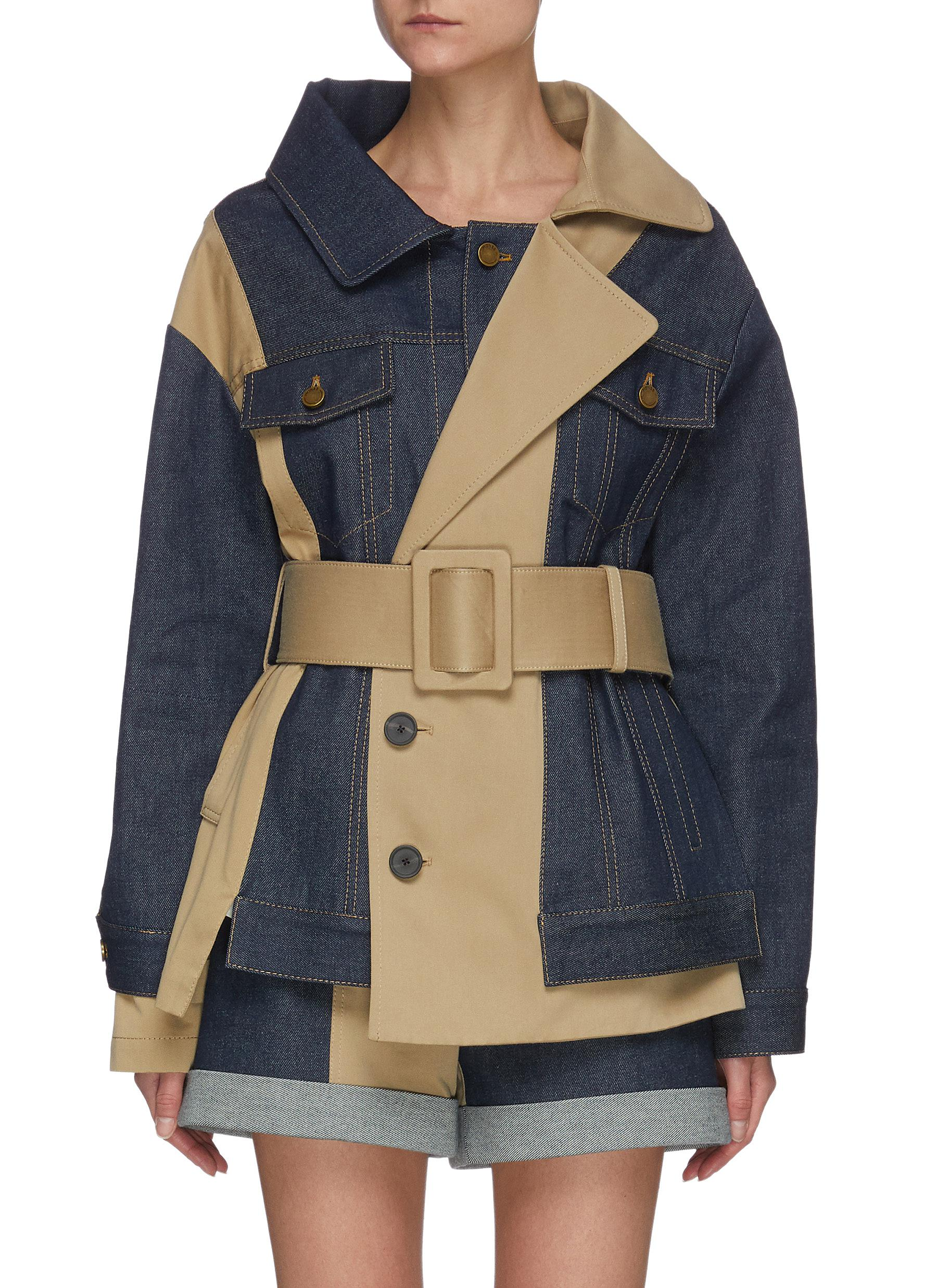 Monse Denims BELTED TRENCH AND DENIM JACKET
