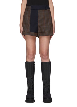 Main View - Click To Enlarge - MONSE - Contrast Trim Plaid Shorts