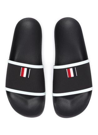 Detail View - Click To Enlarge - THOM BROWNE - Branded Single Band Slide Slippers