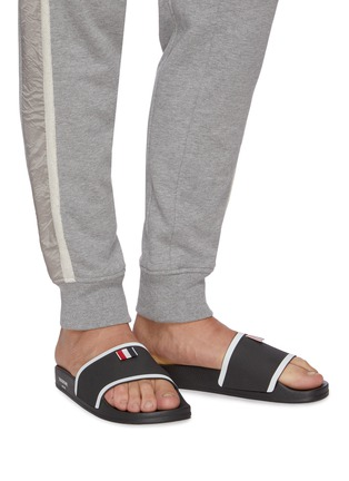 Figure View - Click To Enlarge - THOM BROWNE - Branded Single Band Slide Slippers