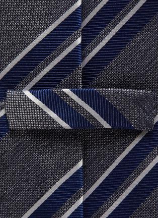 Detail View - Click To Enlarge - STEFANOBIGI MILANO - Striped melange jacquard silk tie