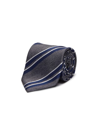Main View - Click To Enlarge - STEFANOBIGI MILANO - Striped melange jacquard silk tie
