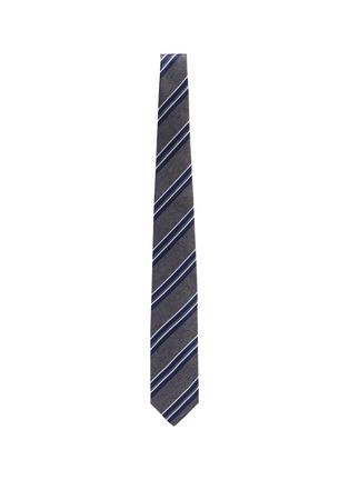 Figure View - Click To Enlarge - STEFANOBIGI MILANO - Striped melange jacquard silk tie