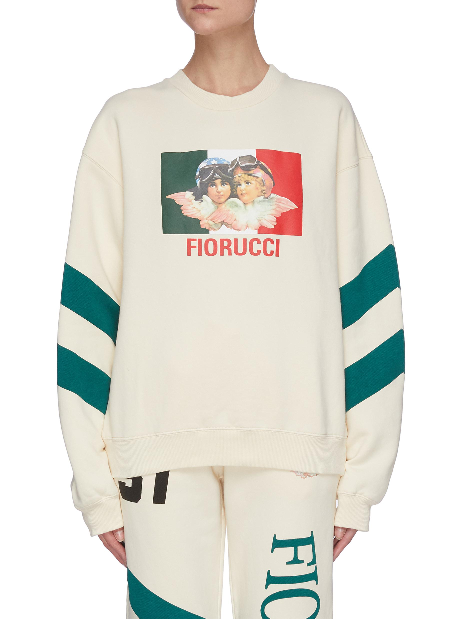Fiorucci 'SPEED QUEEN' ANGEL GRAPHIC PRINT DIAGONAL STRIPE SWEATSHIRT