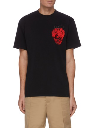 Main View - Click To Enlarge - JW ANDERSON - Pol Anglada embroidered face logo patch T-shirt
