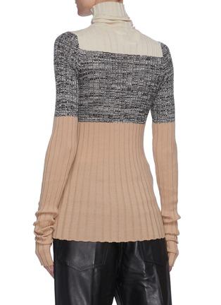 Back View - Click To Enlarge - PETAR PETROV - 'Nika' colourblock panel knit turtleneck top