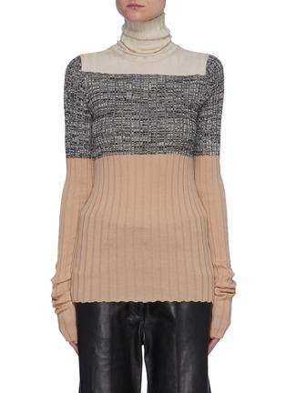 Main View - Click To Enlarge - PETAR PETROV - 'Nika' colourblock panel knit turtleneck top