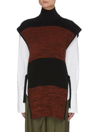 Main View - Click To Enlarge - PETAR PETROV - Nais' colourblock panel sleeveless turtleneck knit top
