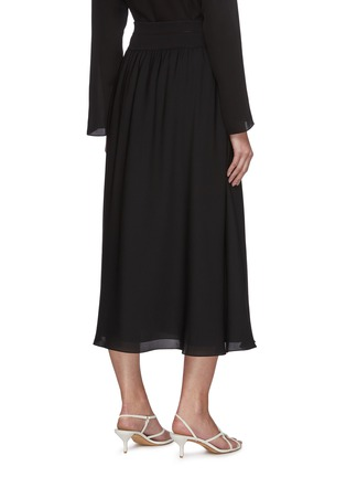 Back View - Click To Enlarge - THEORY - Rib waistband silk midi skirt