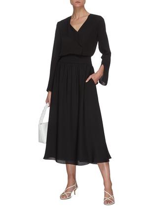 Figure View - Click To Enlarge - THEORY - Rib waistband silk midi skirt