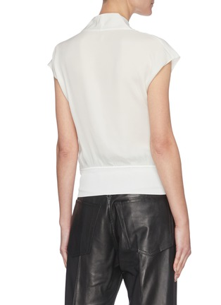 Back View - Click To Enlarge - THEORY - Draped ribbed hem V-neck silk top