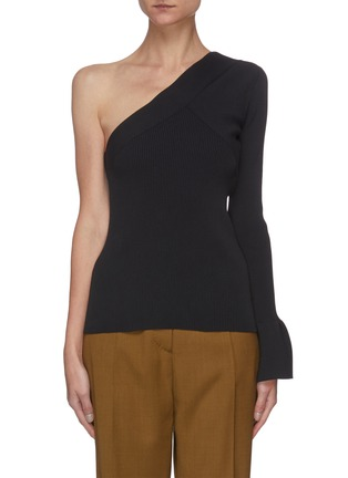 Main View - Click To Enlarge - THEORY - One shoulder rib-knit top