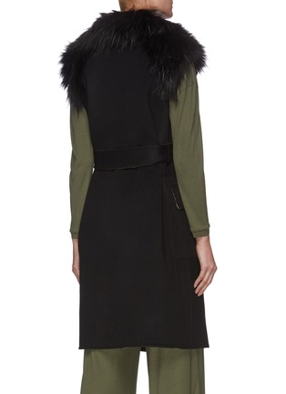 Back View - Click To Enlarge - THEORY - Faux fur collar belted double face wool-cashmere blend vest