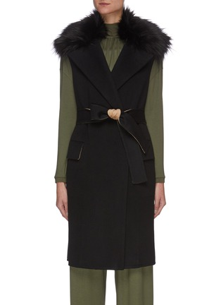 Main View - Click To Enlarge - THEORY - Faux fur collar belted double face wool-cashmere blend vest