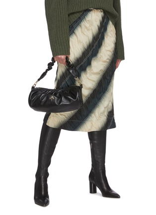Front View - Click To Enlarge - MANU ATELIER - RUCHED CYLINDER XX' Ruch Strap Leather Shoulder Bag