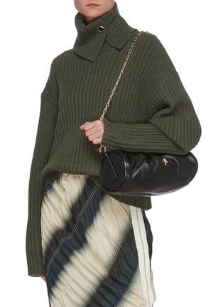 Figure View - Click To Enlarge - MANU ATELIER - RUCHED CYLINDER XX' Ruch Strap Leather Shoulder Bag