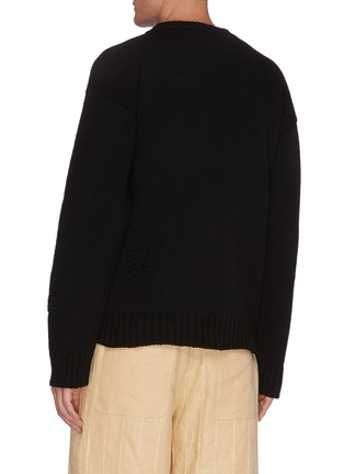 Back View - Click To Enlarge - JIL SANDER - Crochet patch wool sweater