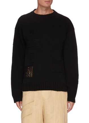 Main View - Click To Enlarge - JIL SANDER - Crochet patch wool sweater