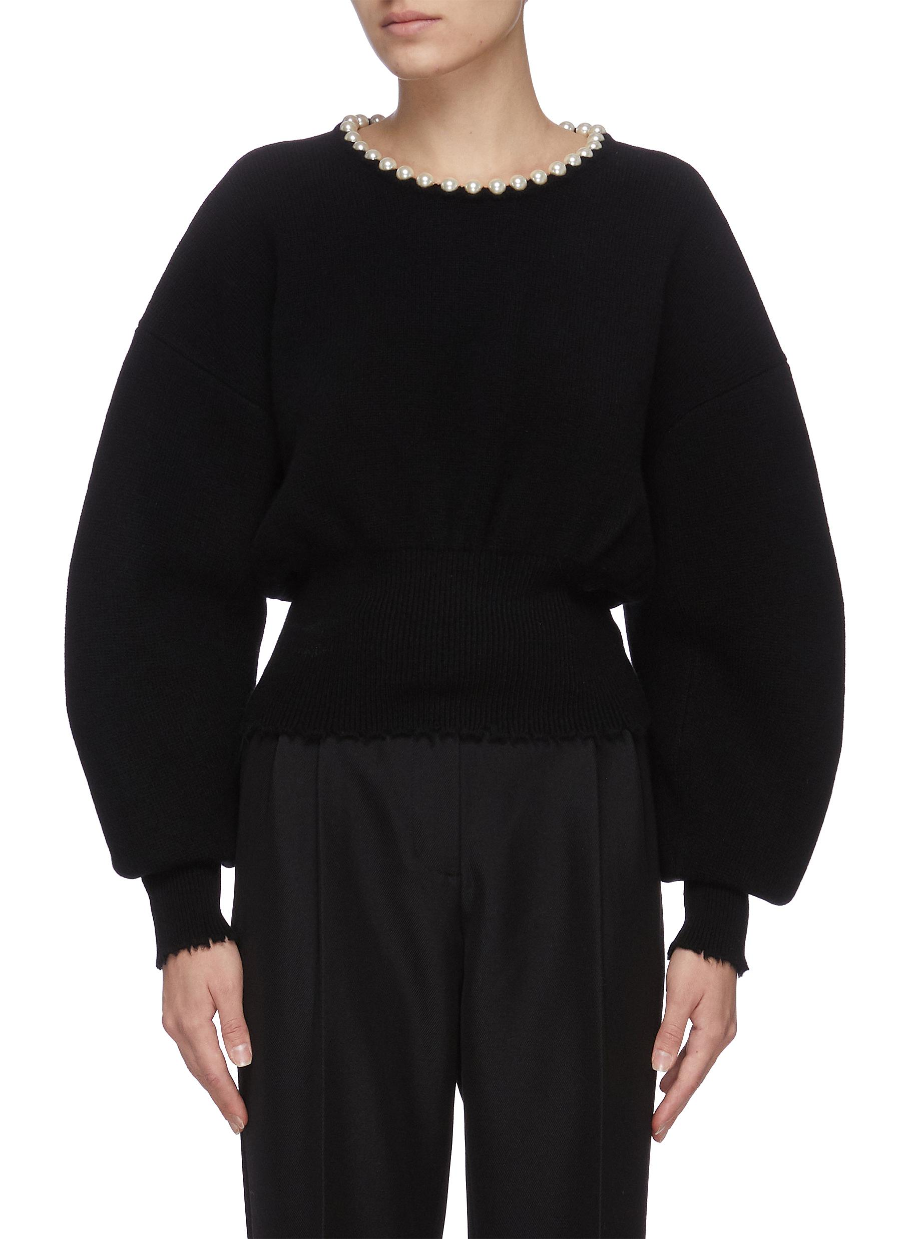 Alexander Wang PEARL NECKLINE CROP WOOL BLEND SWEATER