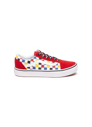 Main View - Click To Enlarge - VANS - COMFYCUSH OLD SKOOL' Logo Lace Colourblock Check Kids Sneakers