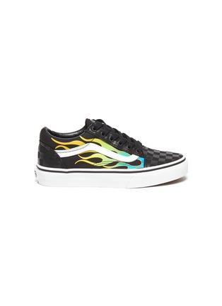 Main View - Click To Enlarge - VANS - 'Old Skool' multi-coloured flames checkered skate kids sneakers