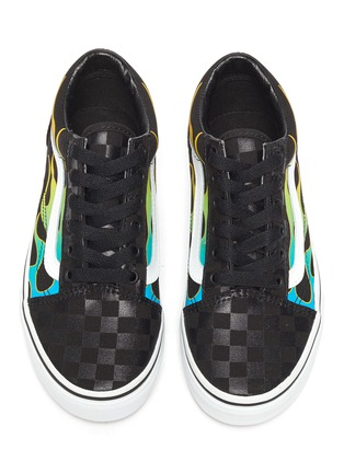 Figure View - Click To Enlarge - VANS - 'Old Skool' multi-coloured flames checkered skate kids sneakers