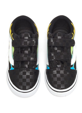 Figure View - Click To Enlarge - VANS - 'Old Skool' multi-coloured flames checkered skate toddler sneakers
