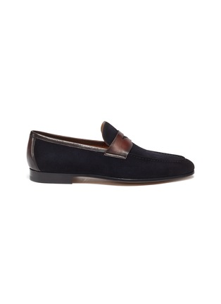 Main View - Click To Enlarge - MAGNANNI - Bi-colour suede penny loafers