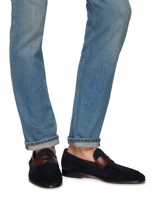 Figure View - Click To Enlarge - MAGNANNI - Bi-colour suede penny loafers