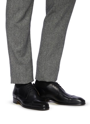 Figure View - Click To Enlarge - MAGNANNI - Almond Toe Leather Derby Shoes