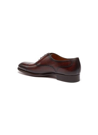 - MAGNANNI - Perforated Detail Round Toe Leather Oxford Shoes