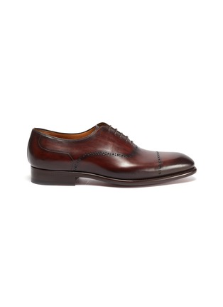Main View - Click To Enlarge - MAGNANNI - Perforated Detail Round Toe Leather Oxford Shoes