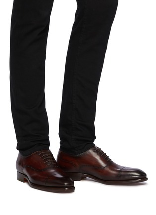 Figure View - Click To Enlarge - MAGNANNI - Perforated Detail Round Toe Leather Oxford Shoes