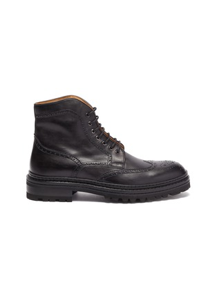 Main View - Click To Enlarge - MAGNANNI - Tread Sole Wingtip Leather Combat Boots