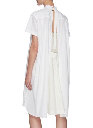 Back View - Click To Enlarge - SACAI - Tuxedo Collar Open Back Cotton Poplin Shirt Dress