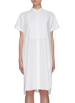 Main View - Click To Enlarge - SACAI - Tuxedo Collar Open Back Cotton Poplin Shirt Dress