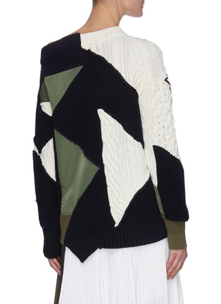 Back View - Click To Enlarge - SACAI - Mixed Geometric Patchwork Asymmetric Neck Sweater