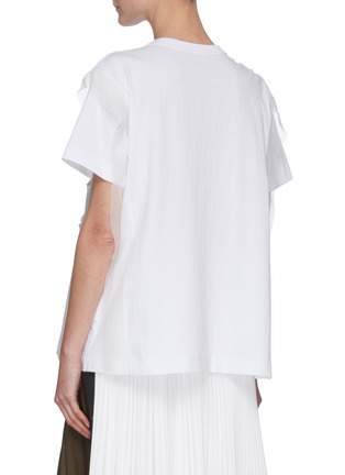 Back View - Click To Enlarge - SACAI - Sheer Accent Logo Print Cotton Jersey T-shirt