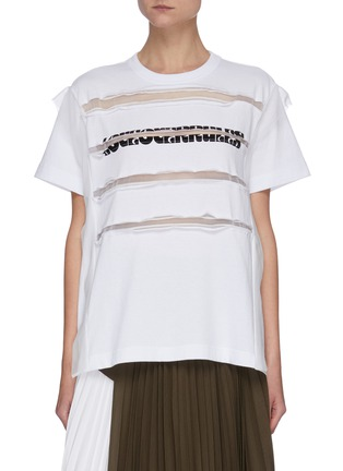 Main View - Click To Enlarge - SACAI - Sheer Accent Logo Print Cotton Jersey T-shirt