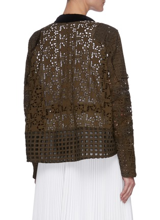 Back View - Click To Enlarge - SACAI - Graphic Mesh Lace Side Belt Detail Jacket