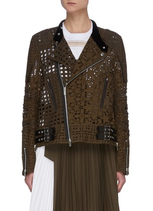 Main View - Click To Enlarge - SACAI - Graphic Mesh Lace Side Belt Detail Jacket